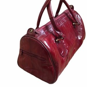 Vintage Ruby Red Eel Skin Top Handle Handbag Purse